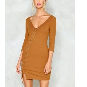 Nasty gal long sleeve together lace up dress